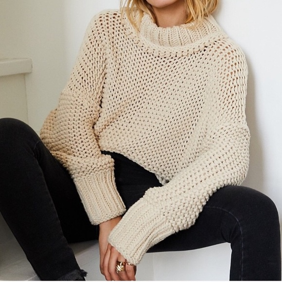 Free People My Only Sunshine Beige Sweater